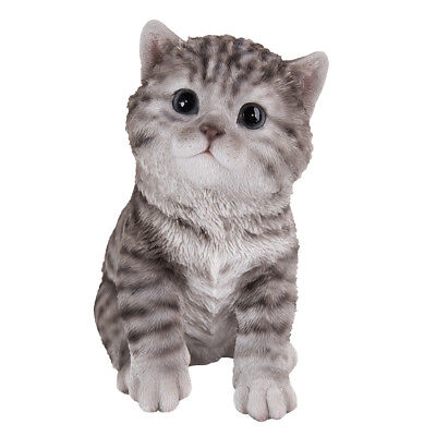 """Animal Collection Life Size Grey Tabby Kitten Figurine Statue 6 5/8""""Tall"""
