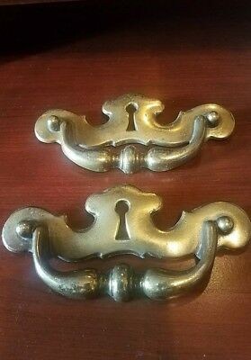 "Set Of Vintage Brass Handle Keyhole Dresser Pulls 6"" x 3"""