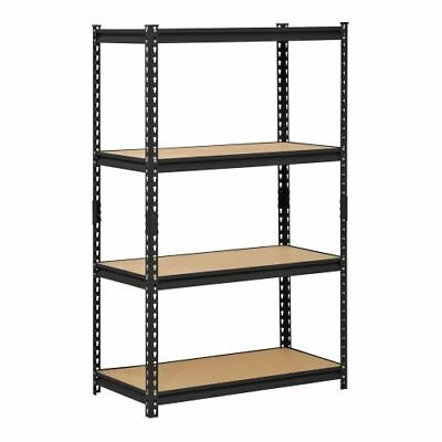 New Muscle Rack Black Steel Storage Rack, 4 Adjustable Shelves