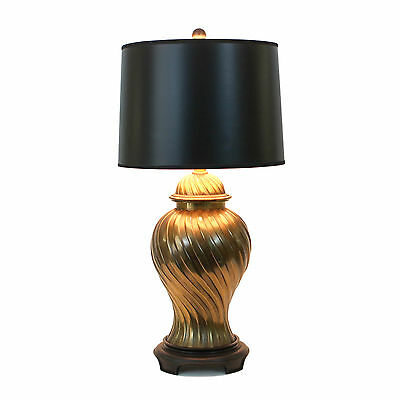 Vintage Asian Modern Hollywood Regency Brass Lamp Ginger Jar 70s Mid-century