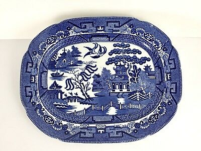 ALLERTONS Blue White Willow Serving Platter Staffordshire Pottery Plate ENGLAND