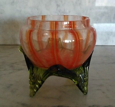 Antique Vtg Fran Welz Kralik Bohemian Czech Art Deco Glass Vase Dish-Signed