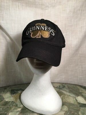 Guinness Hat w/Clover Black Adjustable Size EUC