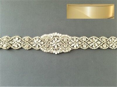 "Wedding Belt, Bridal Sash Belt - CRYSTAL PEARL Sash Belt = 17"" = IVORY RIBBON"
