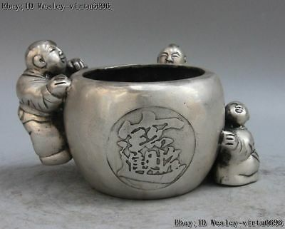 China White Copper Silver Three Boy Tongzi Statue Wealth Pot Pots Jar Jug Crock