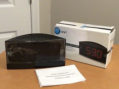 ONN AM/FM Alarm Clock Radio Dual Alarm/Sleep. Digital Display. NEW. Open Box.