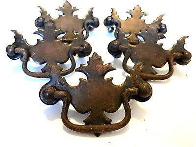Vintage Antique Brass Metal French Ornate Drawer Pulls Handles - Lot of 6