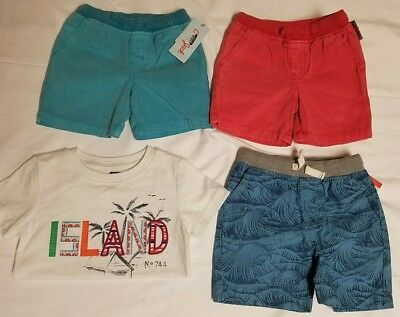 2T Boys Clothing 4 Piece Lot Toddler 3 Shorts 1 Shirt Summer Cute Cat & jack NEW
