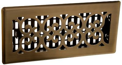 Decor Grates SPH410-A 4-Inch by 10-Inch Scroll Floor Register Antique Brass