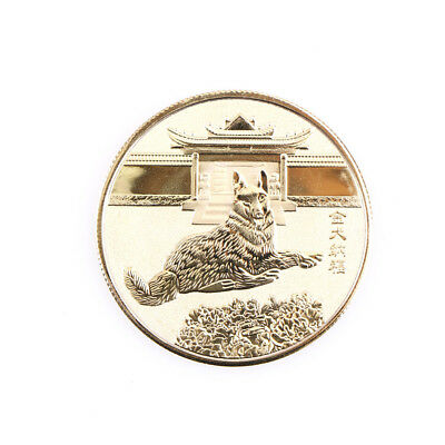 year of the dog plated gold 2018 chinese zodiac souvenir coin gift new HICA