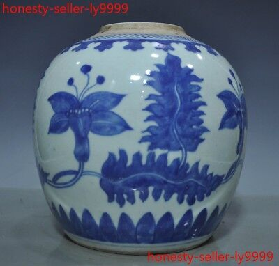 Antique Chinese dynasty palace Blue and white old porcelain Tanks Crock pot jar