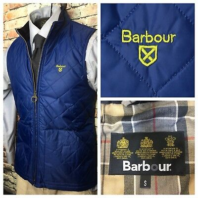 Barbour Quilted Gilet Zip Front Vest Blue Mens Size Small New