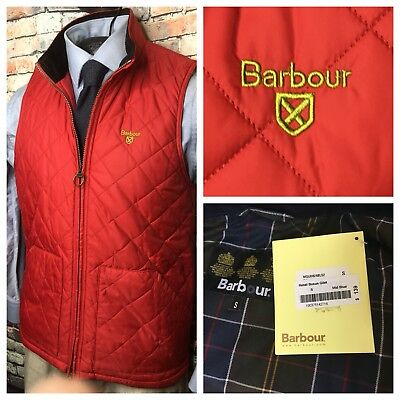 Barbour Quilted Gilet Zip Front Vest Red Mens Size Small New
