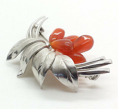 Antique Fine Amber Cluster Leaves Sterling Silver 925 Brooch Pin 10g C1104