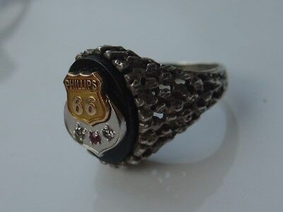 Vintage Mens Onyx Sterling Silver Ring Phillips 66 Gas Oil Diamond Service Award
