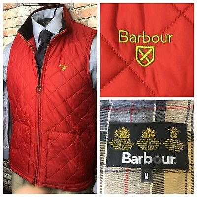 Barbour Quilted Gilet Zip Front Vest Red Mens Size Medium New