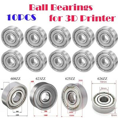 10x 608ZZ 623ZZ 625ZZ 626ZZ Deep Groove Shielded Flanged Ball Bearing 3D Printer