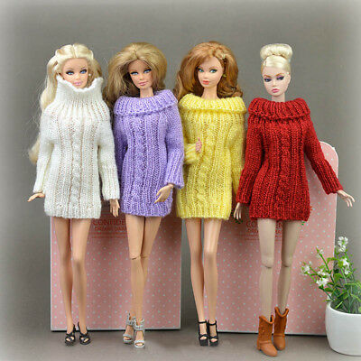 Doll Accessories Knitted Handmade Sweater Top Coat Dress Clothes For Barbie Doll