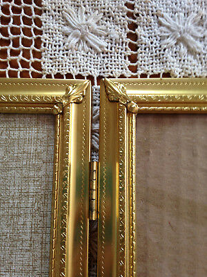 Vintage Solid Brass Double Hinged Heirloom Picture Frame 8 X 10