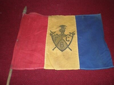 Antique Knights of Pythias FCB Flag Banner 14'' x 11'' with Pole and Finial