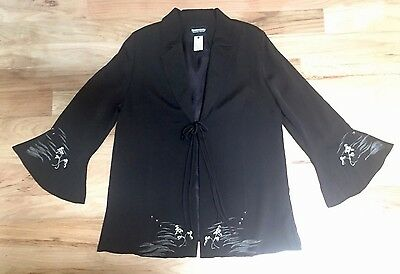 Montsuki Hawaii Black Women's Jacket vintage custom silk Kimono Fabric Large