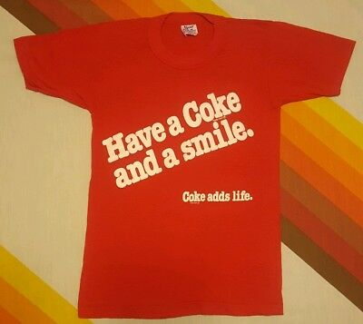VINTAGE 80'S Have a Coke and a Smile COCA COLA  T SHIRT Small hipster thin 50/50