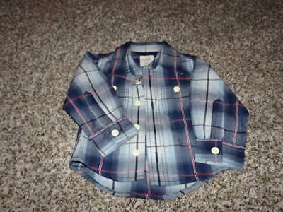Nwot New Peek Little Peanut 6-12 Blue Plaid Shirt Button Up