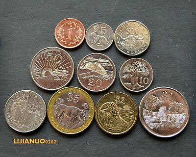 Zimbabwe Simbabwe Set  coins. 1 set of 10 coins. EF CURRENCY Afrika Münzen