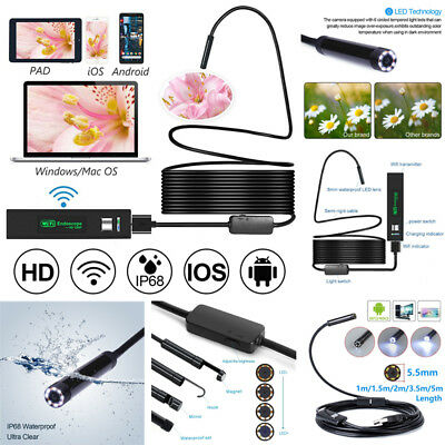 5.5/8mm 6LED Waterproof Wifi Endoscope Borescope Inspection Camera For iPhone