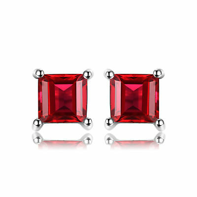 Jewelrypalace Square 0.9ct Natural Garnet 925 Sterling Silver Stud Earrings