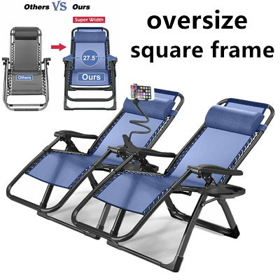 2 Zero Gravity Folding Lounge Beach Chairs+Utility Tray Outdoor Recliner in Blue