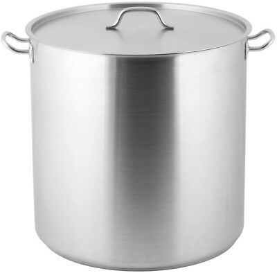 Stainless Steel Extra Large Stock Pot Heavy Duty Restaurant Soup Pot Lid 100 Qt.