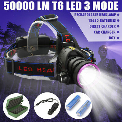 Elfeland 50000Lm T6 LED Rechargeable Headlamp Torch 2x18650 Car Charger Box SET