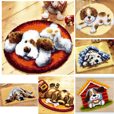 DIY Latch Hook Kit 16 models Needlecrafts Gift 20'' x 20'' Rug Cute Animals Dogs