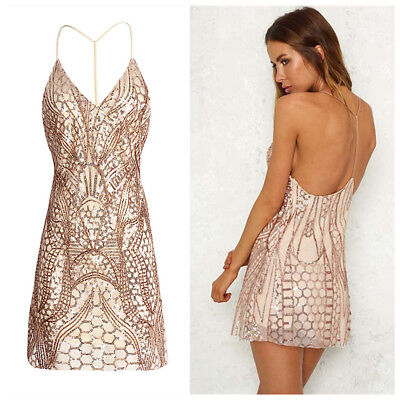 Women Backless V Neck Sequin Bodycon Evening Party Cocktail Club Mini Dress HOT