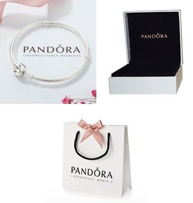 New Genuine Pandora Silver Barrel Moments Clasp Charm Bracelets 590702Hv Uk