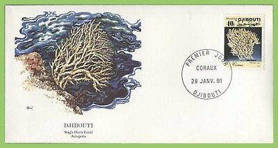Djibouti 40f Coral stamp on First Day Cover