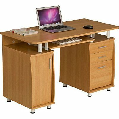 Computer Desk Writing Table with A4 Filing Stationery Drawers Cupboard Home Oak