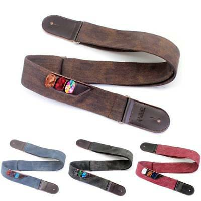 P&P PU Leather Denim Vintage Bass Strap Musical Electric Acoustic Guitar Strap