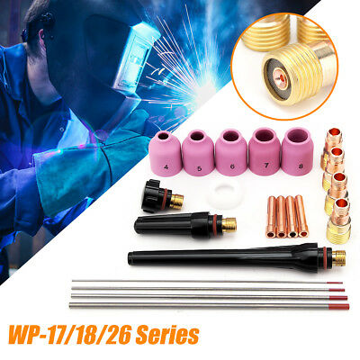 21Pcs TIG Welding Torch Stubby Gas Lens Kit WT20 For Tig WP-17/18/26 Series AU