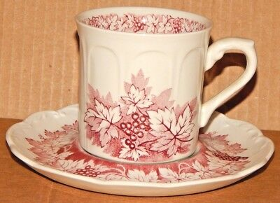 """J & G Meakin Sterling Colonial """"RED VINE"""" Cup & Saucer English Ironstone"""