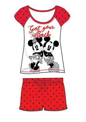 Ladies Girls Novelty Disney Mickey Minnie Mouse Red Black Shortie Pyjama 8-22