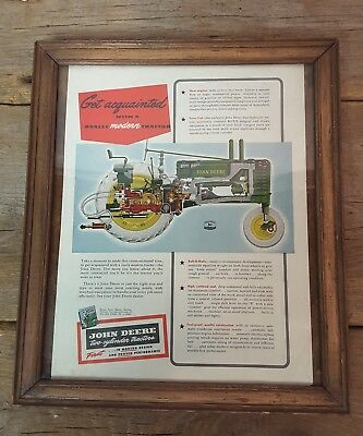 1920's John Deere Framed Advertising Lithograph Print ~  two-cylinder tractors