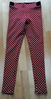 M&s Girls Black/red/white Leggings, Age 9-10 Years, Bnwt