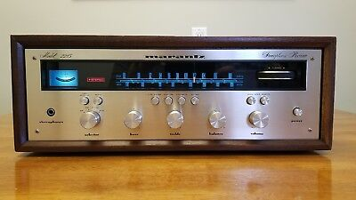 Marantz 2215 stereo receiver champagne engraved faceplate with wc22 wood cabinet