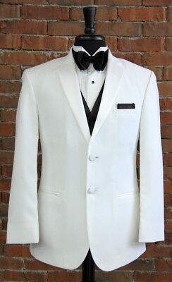 Mens 48 R White Trim Fit 2 Button Tuxedo Jacket Fitted Essentials by Jean Yves