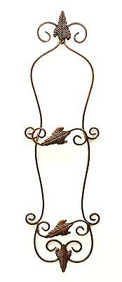 """Wall Double Plate Holder w/Leaf Design, Antique Copper Finish- 32""""H X 10""""W"""