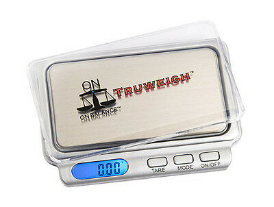 TRUWEIGH ON BALANCE SILVER DIGITAL POCKET MINI SCALES - 100g x 0.01g TW-100-SL