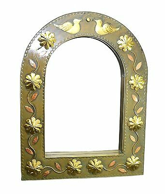 """Vintage Tin Arched Mirror, with Doves and Flower Vines Design-33.25""""H X 25.5""""W"""