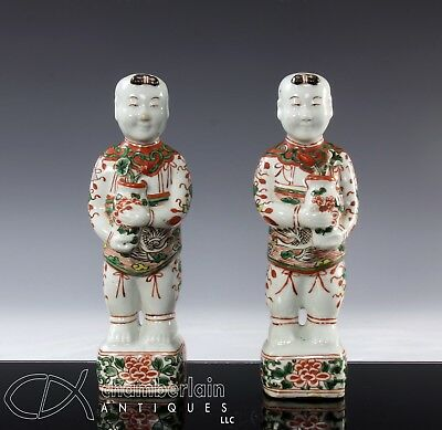 Pr Antique 18C Chinese Porcelain Statues Of Standing Figures Boys